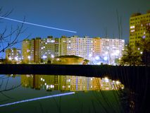 Night Prague with pond and airplane Royalty Free Stock Photos