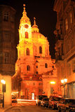 Night  Prague St. Nicholas' Cathedral, Czech Republic Royalty Free Stock Photography