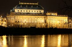 Night Prague Theatre Royalty Free Stock Photography