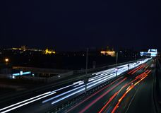 Night Prague Traffic Stock Photography