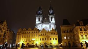 Night Prague, urban traffic on a night street, people cross the highway, Prague Castle, timelapse, Prague 2017. Night Prague, urban traffic on a night street stock video