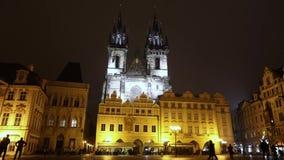Night Prague, urban traffic on a night street, people cross the highway, Prague Castle, timelapse, Prague 2017. Night Prague, urban traffic on a night street stock footage