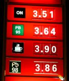 Night prices. On gas station stock image
