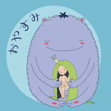 Night princess monster. Hand drawn vector illustration of sleeping princess with long hair and monster, with Japanese text in hiragana Oyasumi Good night Stock Photos