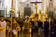 Night procession during Semana Santa in Murcia Stock Photo