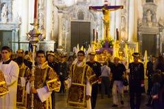 Night procession during Semana Santa in Murcia Stock Photo