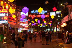 Night Pub Street, Siem Reap, Cambodia Royalty Free Stock Image