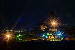 Night in quarry - Bucket wheel excavator. Royalty Free Stock Photo