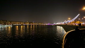 Night quay in the city