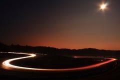 Night race. In race circuit Stock Image