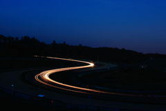 Night race. In race circuit Stock Images
