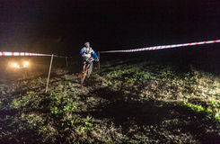 Night racing. On bikes in the competition in Almaty stock images