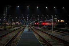 Night railway Stock Photos