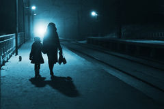 Night railway station. Mother, daughter and cat wait the train on night railway station royalty free stock photography