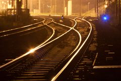 Night railways Royalty Free Stock Photos