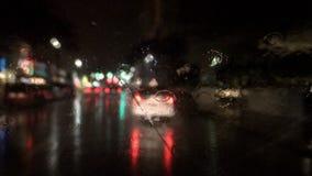 Night rain driving timelapse stock video footage