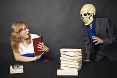 Night reading of terrible books Stock Image