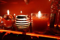 Night. Red fire candle love black white comfort tender autum stock photo