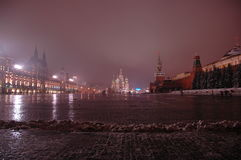 Night Red Square. Shot of Red Square in Moscow (State Universal Shop - GUM - on the left side, SSt. Basil Cathedral on the centre, Kremlin wall with the Stock Photo