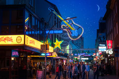 At night on the Reeperbahn Stock Image