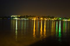 night reflection at the beach in porec stock images