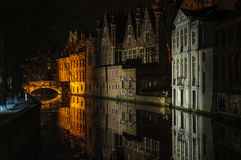 Night reflection in Bruges, Belgium Royalty Free Stock Photography