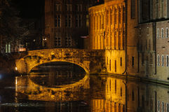 Night reflection in Bruges, Belgium Royalty Free Stock Images