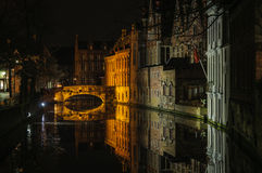 Night reflection in Bruges, Belgium Royalty Free Stock Image