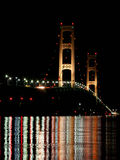 Night Reflections from the Mackinac Bridge in Mich Stock Photo
