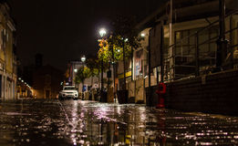 Night reflections. Water reflections in a Rimini rainy night Stock Photo