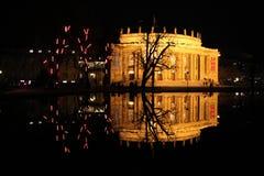 Night reflexion. Opera House in Stuttgart, with night reflexion on the lake royalty free stock photo