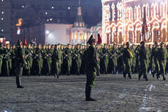 Night rehearsal of parade of a victory Stock Photography