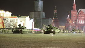 Night rehearsal of parade of a victory stock video footage