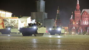 Night rehearsal of parade of a victory stock video