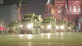 Night rehearsal of parade of a victory stock footage