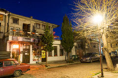 Night restaurant in the historical part of Bulgarian Pomorie stock images