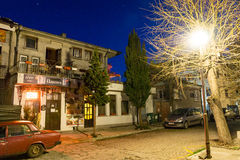 Night restaurant in the historical part of Pomorie, Bulgaria royalty free stock photography