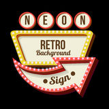 Night retro sign with lights. 3d Vintage street sign. Retro banner with glowing lights. Volume symbol of the frame. Design element for your poster, advertising Stock Images