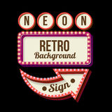 Night retro sign with lights. 3d Vintage street sign. Retro banner with glowing lights. Volume symbol of the frame. Design element for your poster, advertising Royalty Free Stock Photography