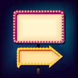 Night retro sign with lights Stock Image