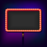 Night retro sign with lights Royalty Free Stock Photos