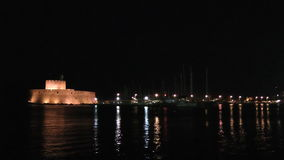 Night Rhodes fort stock footage