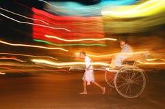 Night rickshaw, India. Night service rickshaw transport in the center of Kolakta Royalty Free Stock Image