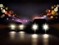 Night Ride Cars Composition. Car lights realistic background with night road and two car front-side silhouettes with headlight and shadows vector illustration Royalty Free Stock Photos