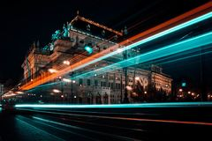 Night ride in Prague City. royalty free stock photography