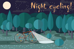 Night riding on the bike. Cycling at night. Interesting night ride on a bicycle in the park. Night cycling! Royalty Free Stock Photography