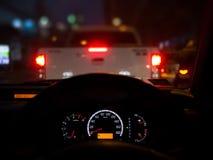 Night riding in street traffic royalty free stock photo