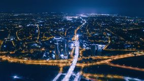 Night Riga Drone Timelapse City Bridge Viaduct road traffic machine Drone fast time cars in motion. Timelapse Riga city drone flight above bridge with cars stock video