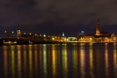 Night in Riga, Latvia stock image