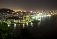 Night Rio de Janeiro. The view from the mountain Sugar loaf. Royalty Free Stock Photography